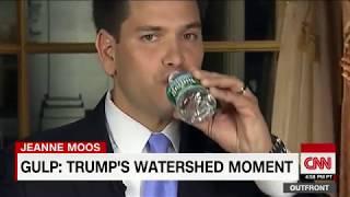 President Trump sips water during speech like Rubio