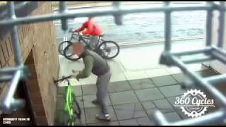 Would-be bike thief rugby tackled to ground by owner in Dublin