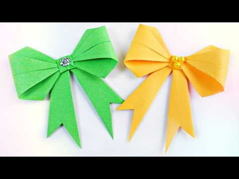 How to make origami bow diy 3d paper easy tutorial step by step for kids,for beginners