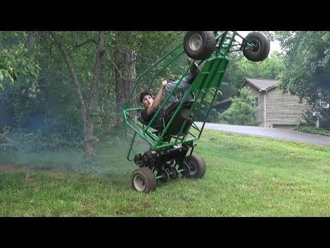 Rope assisted wheelies in the green off road go kart