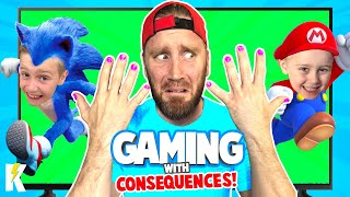 DadCity gets Pretty! Gaming with Consequences: Mario and Sonic Olympics Edition | KIDCITY