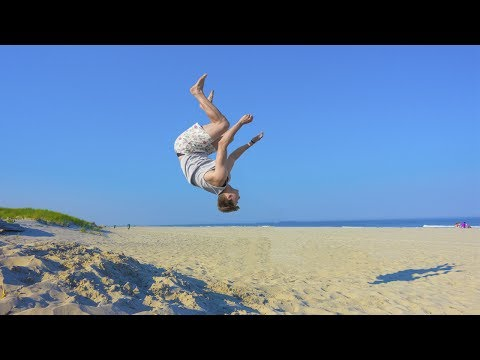 TEACHING ME TO BACKFLIP ON BEACH!!