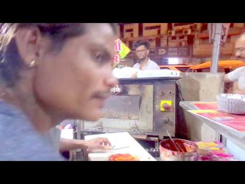 People enjoying Pizza Burger With Lots of Cheese Street food part 2