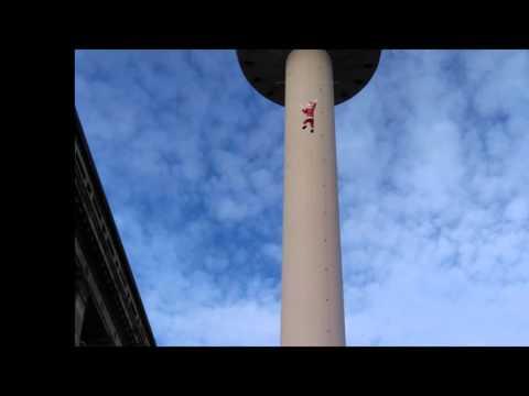 Santa Climbs the tower at St John's Market Liverpool