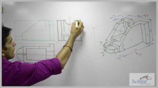 Sectional Orthographic - Engineering Drawing 2014 Dec Paper Q2