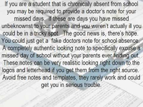 How to Get a Fake Doctors Note for A School Absence