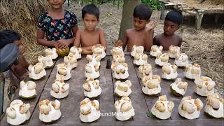 Fruits Cutting Ninja In Bangladesh - Opening Toddy Palm Fruits For Villagers - Palmyra Palm Fruits