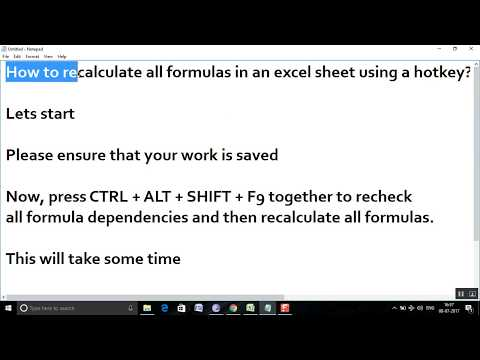 How to recalculate all formulas in an excel sheet using a shortcut hotkey?