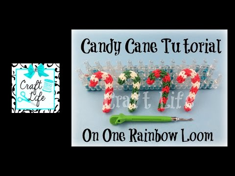 Craft Life Candy Cane Charm or Ornament Tutorial for Christmas on a Rainbow Loom