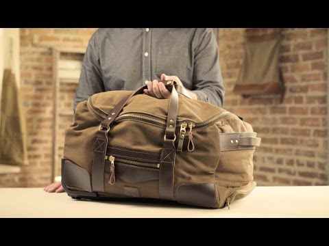 The Rolling Carry-On Duffle | Waxed Canvas & Leather Rolling Duffle Bag