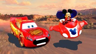 Cars 3 Crazy Race Lightning McQueen VS Mickey Mouse with Mater, Mack & Thunder Hollow Miss Fritter