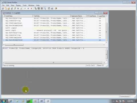 21-How to trace incoming SQL statements to SQL Server Database (using SQL Server Profiler)