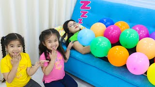 Annie and Suri Pretend Play with Funny Balloons | Fun Kids Playtime