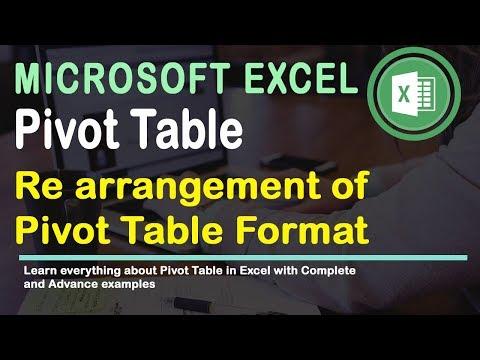 Re arrangement of Pivot Table Format Excel 2016