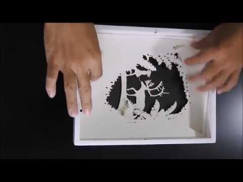 Making of paper cut shadow light box