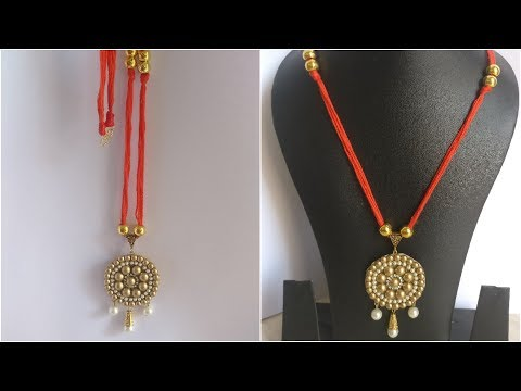 #3 How to make Thread Necklace || Red and gold ||DIY|| How to make to Jewellery