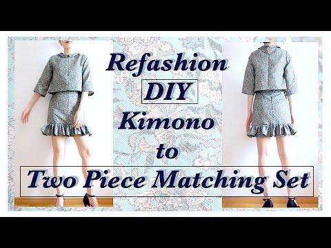 Refashion DIY Kimono to Two Piece Matching Set / リメイクチュートリアル / 옷리폼 / 手作教學 / Costuraㅣmadebyaya