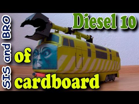 Diesel 10 train of cardboard. Cardboard Models Trains Thomas and Friends. Step by step