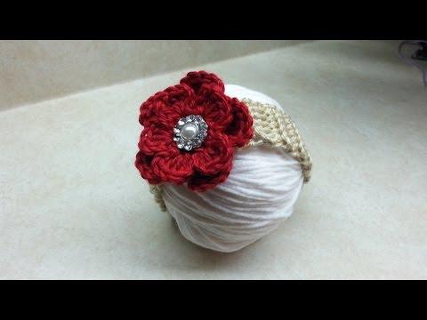 CROCHET How to #Crochet easy baby headband with flower #TUTORIAL #188 LEARN CROCHET