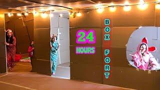 24 HOUR OVERNIGHT IN A BOX FORT MANSION | Familia Diamond