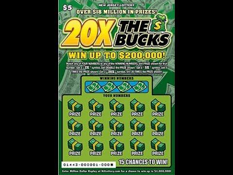 $5 - 20X THE BUCKS Ticket from NJ Lottery!  Lottery Scratch Off instant win tickets! FAN MAIL!