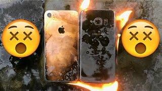Apple iPhone 7 vs Galaxy S7 BURN Test! Don