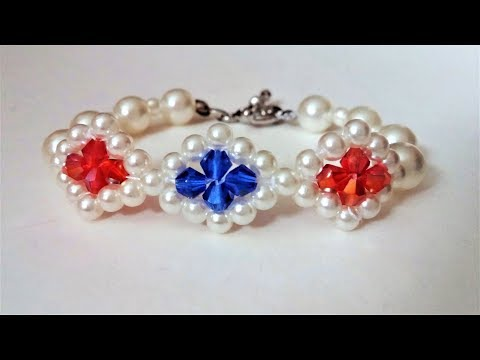 How to make a beautiful bracelet with pearl beads and bicone beads