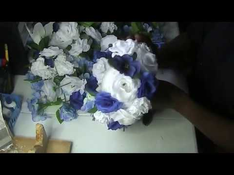 Dollar Tree DIY Wedding Special Event Party Table Centerpiece Silk Flowers Brooch Bouquet