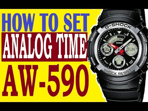 How to set analog time on G-Shock AW-590 manual 4778 for use