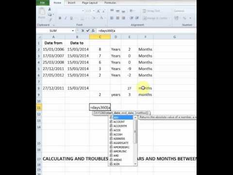 Calculating years and months between two dates