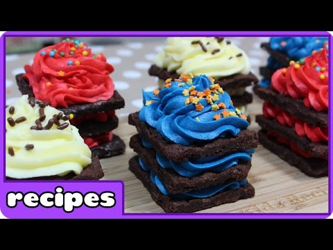 Rainbow Brownie Brittle Birthday Cake | Icebox Cupcakes Recipe | DIY Treats by HooplaKidz Recipes
