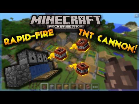 Rapid-Fire TNT Cannon!!! / MCPE v0.15.6 /Redstone Machine/Fastest TNT Cannon In Minecraft Or What?!?