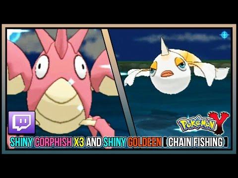 Live Shiny Corphish X3 and Shiny Goldeen Via Chain Fishing | Live Shiny Hunts #19-22 | Pokemon Y