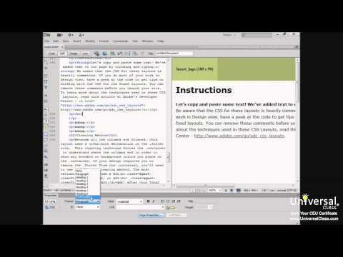 Adding Texts, Hyperlinks, and Meta Tags to WebPages in Dreamweaver