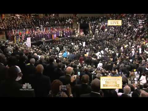 President Obama Singing 'Amazing Grace' During Eulogy Funeral HD