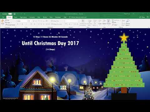 Countdown to Christmas in Excel with Animated Christmas Tree and Stars