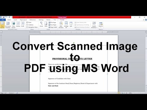 GATE 2017 Converting Scanned image to PDF using MS Word