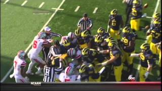 Ohio State vs  Michigan Fight 2013 with SloMo replay
