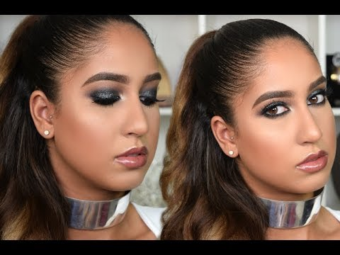 Black Glitter Smokey Eye Makeup Tutorial | Gabriella Gatehouse