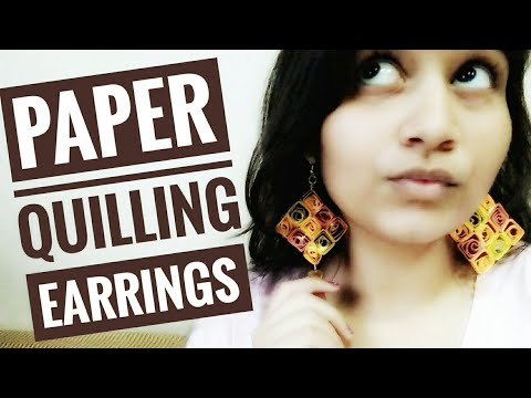 How to make Paper Quilling Square Shaped Earrings|paper quilled earrings
