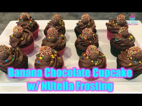 Banana Chocolate Cupcake with Nutella Frosting