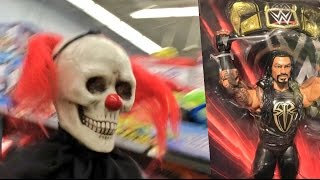 CREEPY CLOWNS CHASE FAT WWE TOY HUNTER AT WALMART! ROMAN REIGNS EXCLUSIVE AT TRU!
