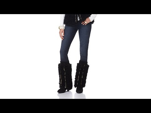 Joan Boyce Black Faux Fur Leg Warmers