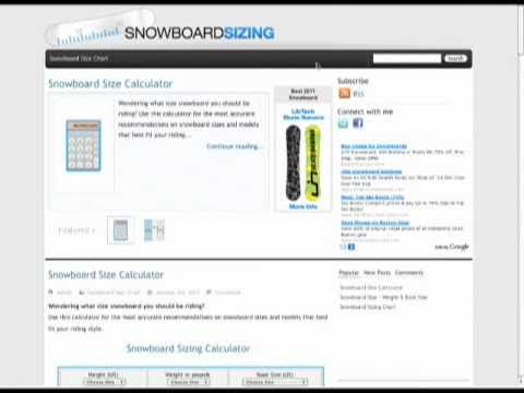 Snowboard Sizing Calculator - length & width size guide