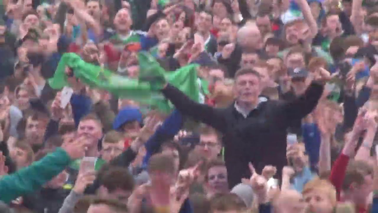 Incredible Atmoshpere ! Northern Ireland fans singing Sweet Caroline   (EURO 2016)