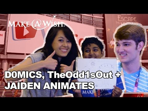 Jaiden Animations + TheOdd1sOut + Domics Draw with Make-A-Wish at VidCon!