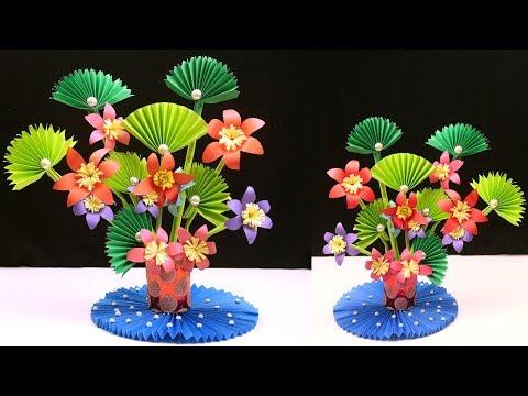 How to Make Paper Flowers - Paper Flowers Diy - Paper Flower & Plastic Bottle Flower Vase at Home