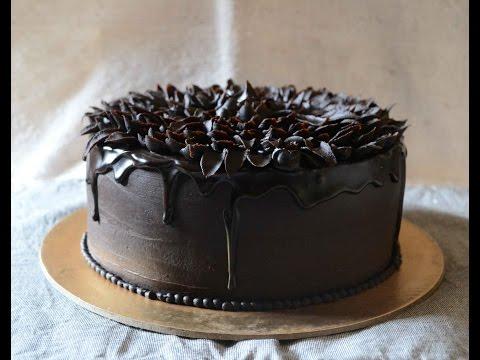 How To Make chocolate glaze and Pipe Easy Ganache Flower On Chocolate Orange Cake