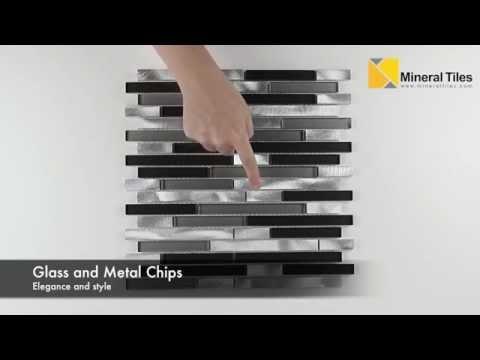 Aluminum Glass Mosaic Tile Black Blend - BAL8ALUM010