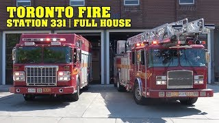 [FULL HOUSE RESPONSE] - Toronto Fire Station 331: Pump, Aerial & Squad responding lights & siren